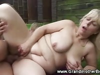 Derailed granny receives warm cum loads